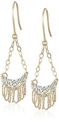 14k Gold Tri-Color Half Moon Multiple Circles Dangle Earrings