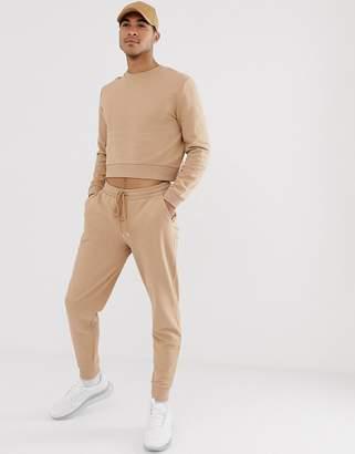 BEIGE Asos Design ASOS DESIGN crop tracksuit with tapered sweatpants in