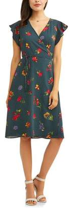 Wrapper Women's Wrap Front Floral Dress