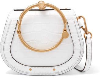 Chloé Nile Bracelet Croc-effect Leather And Suede Shoulder Bag - White