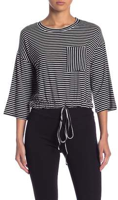 GOOD LUCK GEM Striped 3\u002F4 Sleeve Tie Waist Tee