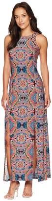 London Times Technicolor Tile Maxi Dress w/ Slits Women's Dress