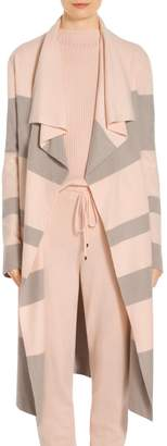 St. John Felted Wool and Cashmere Stripe Knit Coat