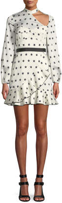Self-Portrait Self Portrait Long-Sleeve Satin Star-Print Frill Mini Cocktail Dress