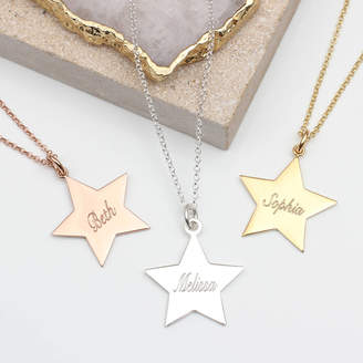 Hurleyburley Large Sterling Silver Or 18ct Gold Star Name Necklace