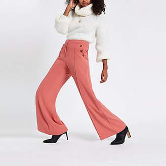 River Island Pink button wide leg pants