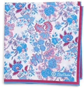 David Donahue Floral Cotton Pocket Square