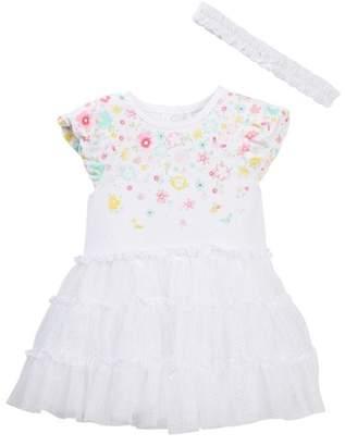Little Me Waterfall Floral Tutu Bodysuit & Headband Set (Baby Girls)