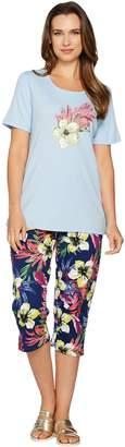Factory Quacker Tropics Fun T-shirt and Printed Capri Pants Set