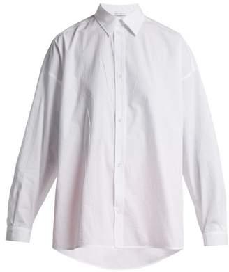 Raey Swing Back Crinkled Cotton Shirt - Womens - White