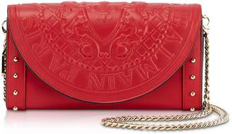 Balmain Red Smooth Leather Continental Chain Shoulder Bag W/embossed Blazon