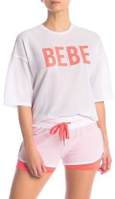 Bebe Short Sleeve Crop Honeycomb T-Shirt