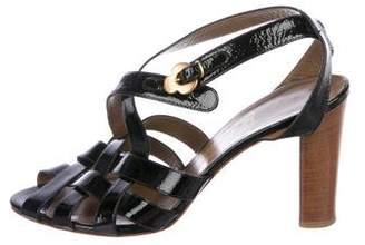 Salvatore Ferragamo Patent Woven Sandals