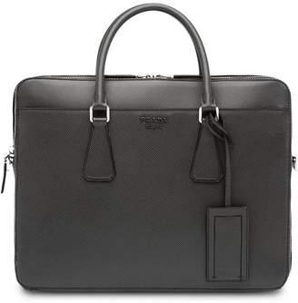 Prada logo top-handle briefcase