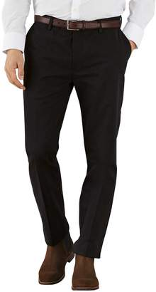 Charles Tyrwhitt Black Extra Slim Fit Flat Front Non-Iron Cotton Chino Trousers Size W30 L30