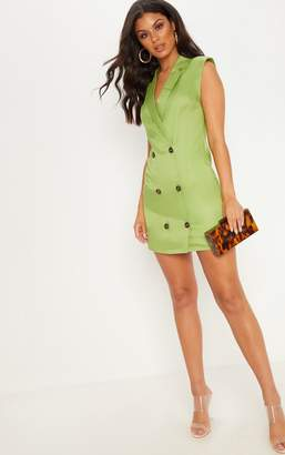 PrettyLittleThing Lime Sleeveless Tortoise Button Detail Blazer Dress