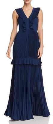 Aidan Mattox Pleated Ruffle-Trimmed Gown