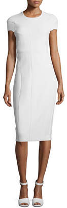 Narciso Rodriguez Cap-Sleeve Horizontal Seamed Scuba Sheath Dress