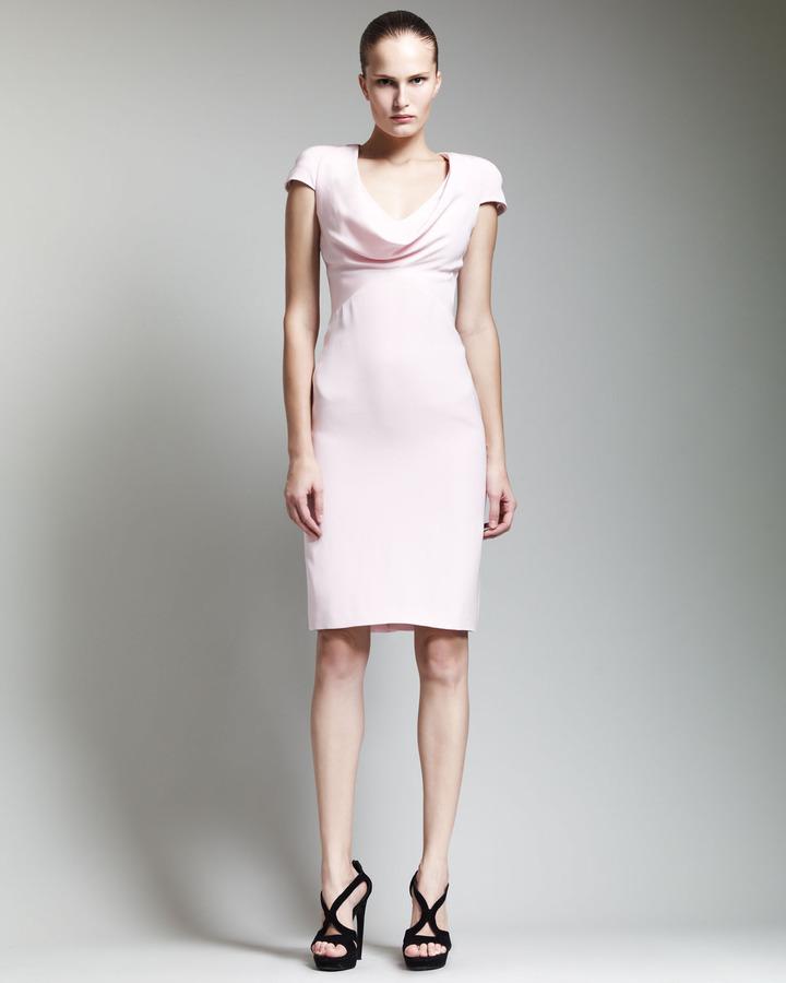 Alexander McQueen Cowl-Neck Dress, Blush