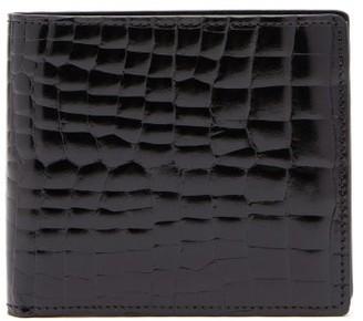 Maison Margiela Logo Stitch Crocodile Effect Leather Wallet - Mens - Black