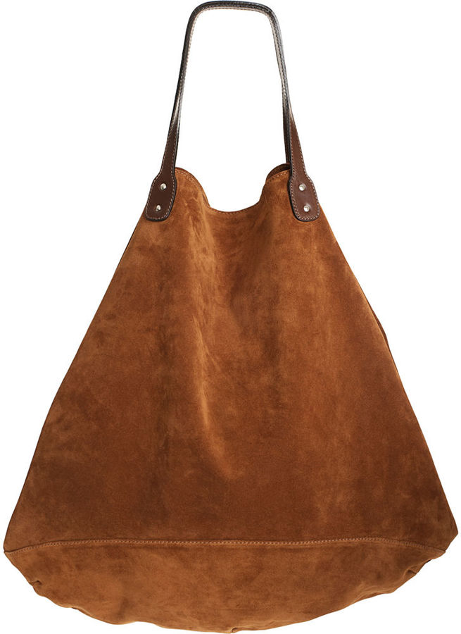 Barneys New York Hippie Suede Shopping Sac - Couro Brown