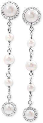 Arabella Cultured Freshwater Pearl (4-8mm) and Swarovski Zirconia Linear Drop Earrings in Sterling Silver