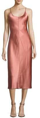T by Alexander Wang Sleeveless Satin Slip Dress W/ Threadwork, Pink $495 thestylecure.com