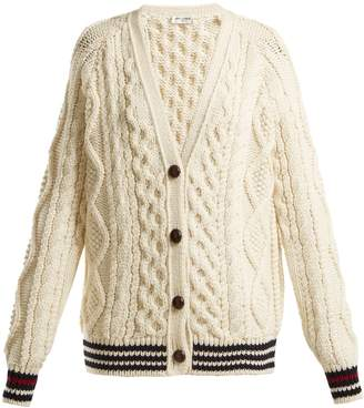 Saint Laurent V-neck aran-knit wool cardigan