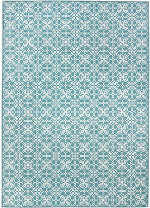 Blue Area Ruggable Washable Floral Tiles 2-pc. Rug System