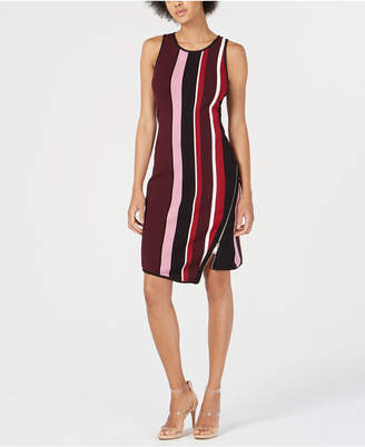 Bar III Striped Asymmetrical-Zip Sweater Dress, Created for Macy's