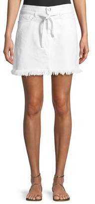 Frame Le High Belted Mini Skirt w/ Raw-Edge