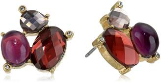 "lonna & lilly Bead Brilliance"" Worn Gold-Tone and Burgundy Cluster Stud Earrings"