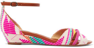 Alexandre Birman Jacquard, Leather And Suede Wedge Sandals - Fuchsia