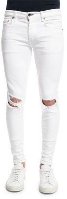 Rag & Bone Low-Rise Distressed Skinny Jeans, White $215 thestylecure.com