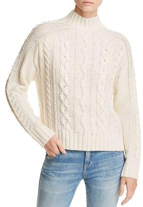 Aqua Embellished Cable-Knit Sweater - 100% Exclusive