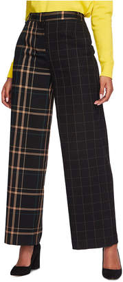 1 STATE 1.state Mixed-Plaid Wide-Leg Pants