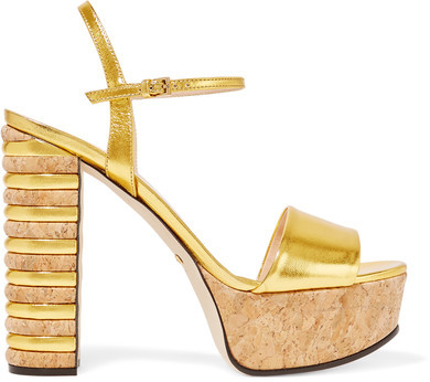 Gucci - Metallic Leather And Cork Platform Sandals - Gold
