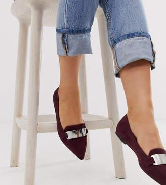 Asos Design DESIGN Wide Fit Leonie pointed loafer ballet flats in plum