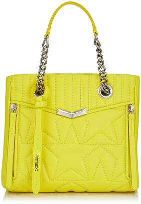 Jimmy Choo HELIA SHOPPER/S Small Fluroscent Yellow Star Matelasse Nappa Leather Shopper Bag