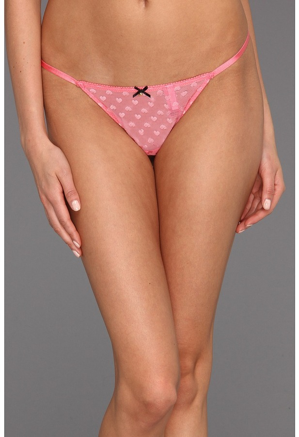 Betsey Johnson Heart Mesh Thong