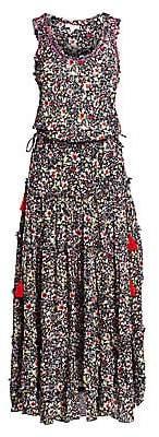 Poupette St Barth Women's Bety Fringe Floral Long Flare Dress