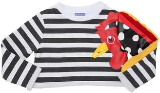Stella Jean Rooster Striped Cropped Sweatshirt