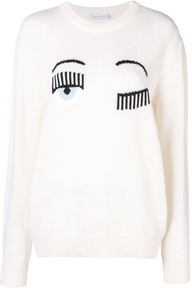 Chiara Ferragni flirting intarsia sweater