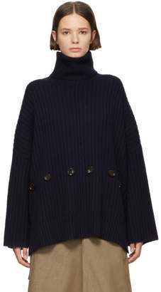Joseph Navy Large Wool Turtleneck