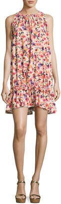 Catherine Malandrino Floral-Print Ruffled-Hem Dress, Multipattern