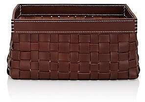 Arte & Cuoio Intrecci-Woven Leather Basket - Dk Brown