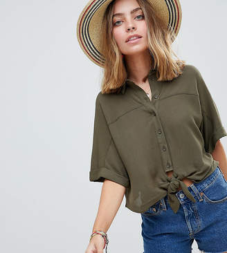 Asos Tie Front Shirt In Crinkle