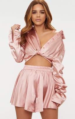 PrettyLittleThing Petite Dusty Pink Satin Shirt