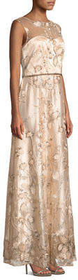 LM Collection Sequin-Embellished Floral Evening Gown