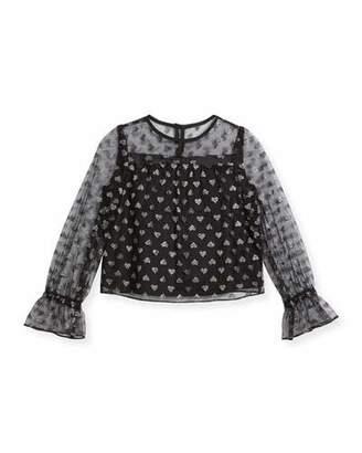 Milly Minis Leila Metallic Hearts Tulle Blouse, Size 8-16